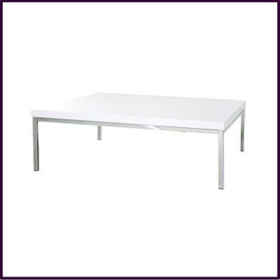 White High Gloss Coffee Table With Chrome Legs