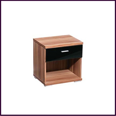 Fargo Bedside Cabinet Walnut Veneer Black High Gloss Drawer