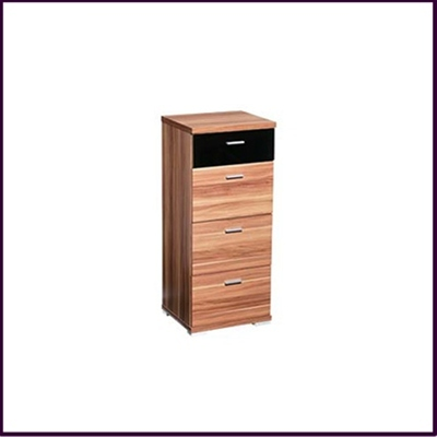 Fargo 4 Drawer Chest Walnut Veneer Black High Glass Drawer