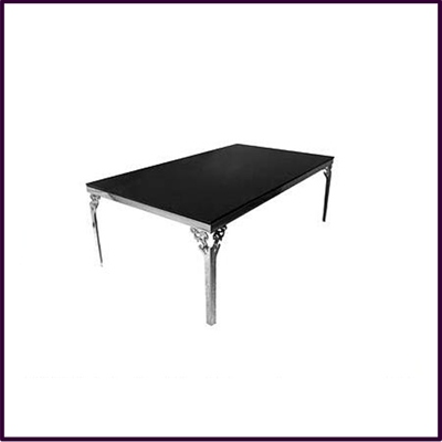 Black Glass Coffee Table With Stainless Steel Carved Legs