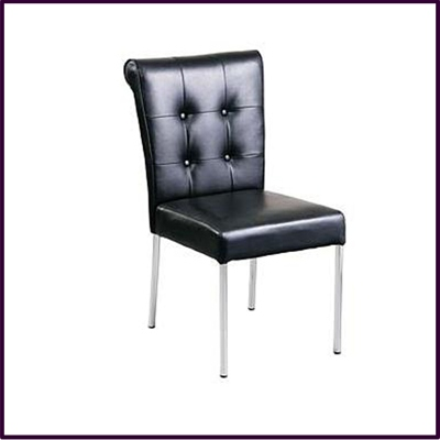 Dining Chair Black Leather Effect With Stainless Steel Legs