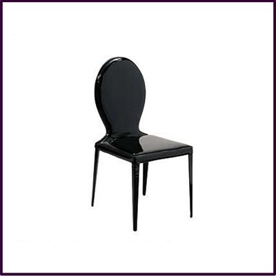 Dining Chair Black Patent Leather Effect Louis Style
