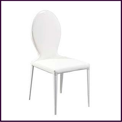 OUT OF STOCK Dining Chair White Patent Leather Effect Louis Style