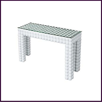 White Diva Console Table With Temp Glass Top