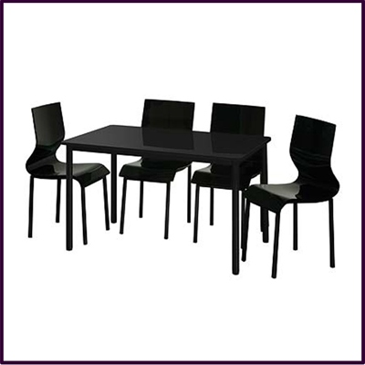 Mode 4 Seater Black Gloss Dining Set