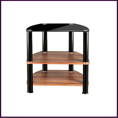 OUT OF STOCK 3 Tier Unit Black Glass Top Walnut Ven Shelf Base