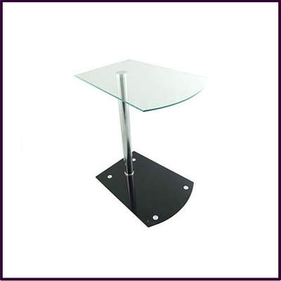 Rialto Clear Temp Glass End Table Black Glass Base