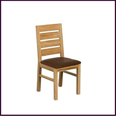 Solid Oak Dining Chair With Brown Leather Effect Seat