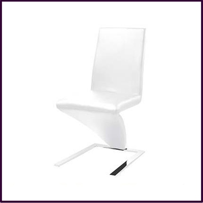 White Leather Effect Chair With Chrome Legs