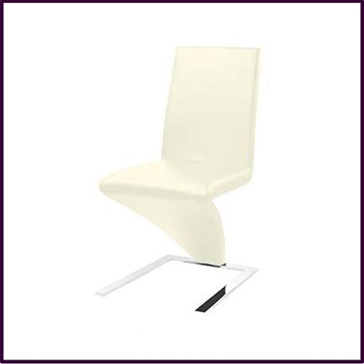 Cream Leather Effect Chair With Chrome Legs