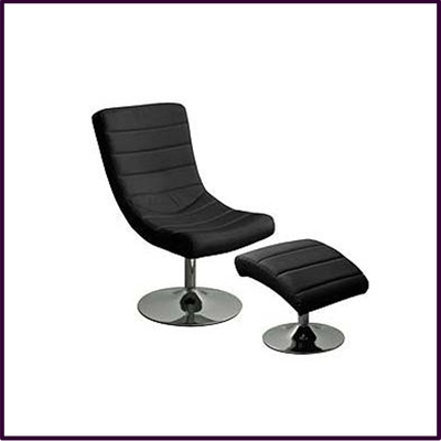 Swivel Chair And Footstool, Black Leather Effect With Chrome Base