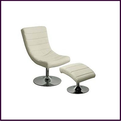 Swivel Chair And Footstool, Cream Leather Effect With Chrome Base