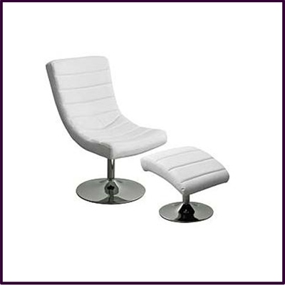 Swivel Chair And Footstool, White Leather Effect With Chrome Base