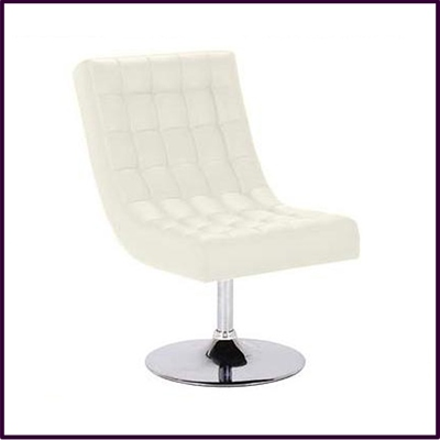 Swivel Chair Cream Leather Effect With Chrome Base