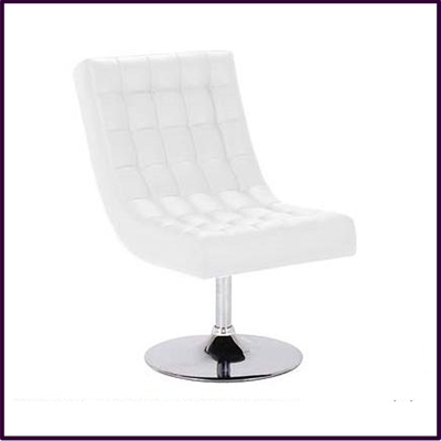 Swivel Chair White Leather Effect With Chrome Base