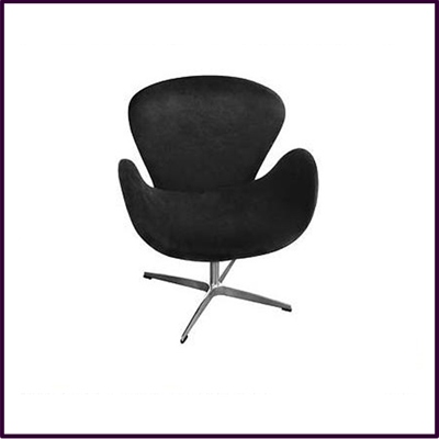 Black Revolving Microfibre Chair With Chrome Base