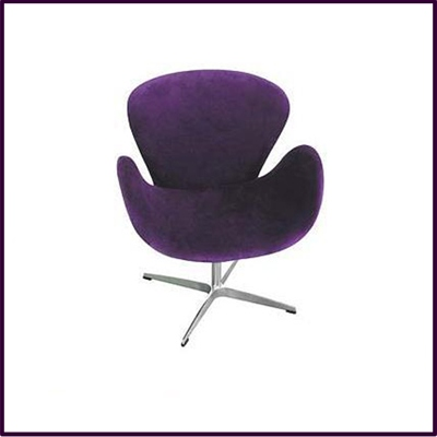 OUT OF STOCK Purple Revolving Microfibre Chair With Chrome Base