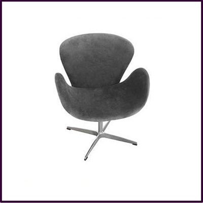 Charcoal Gray Revolving Microfibre Chair With Chrome Base