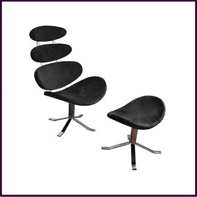 Black Revolving Microfibre Chair And Footstool With Chrome Base