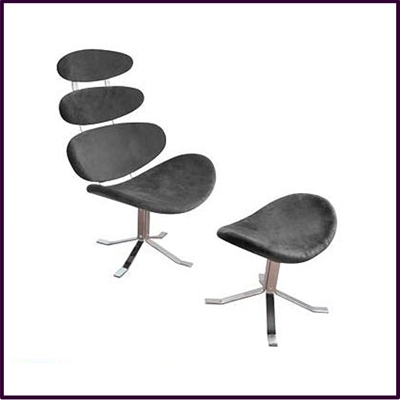 Charcoal Grey Revolving Microfibre Chair And Footstool With Chrome Base