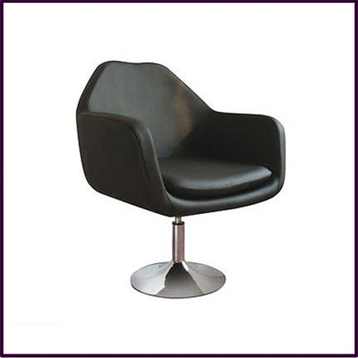 Black Revolving Leather Effect Chair With Chrome Base