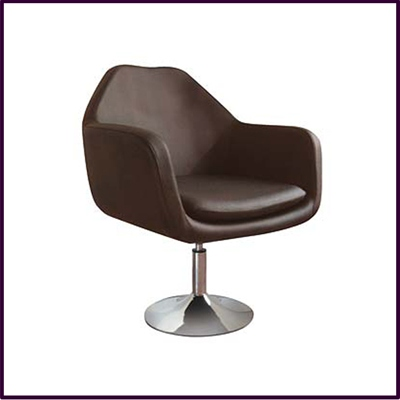 Chocolate Brown Revolving Leather Effect Chair With Chrome Base