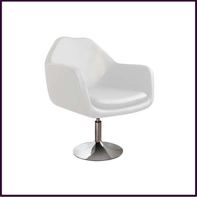 White Revolving Leather Effect Chair With Chrome Base