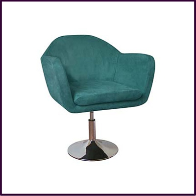 Teal Fabric Revolving Height Adjustable Chair With Chrome Base