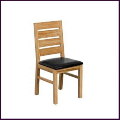Black Leather Effect Dining Chair Solid Oak