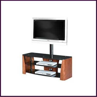 3 Tier Flat Screen TV Unit Wlnt Ven Black Temp Glass