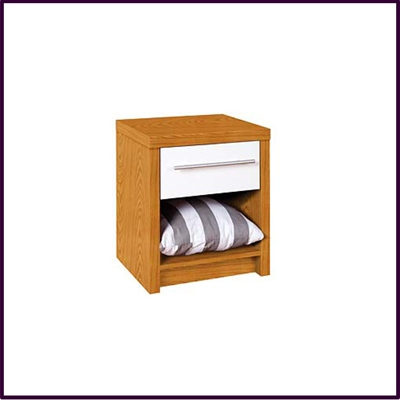 Hudson Bedside Cabinet Oak Veneered with White High Gloss Drawer