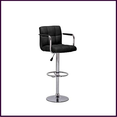 Bar Chair Black Leather Effect Height Adjust With Chrome Base