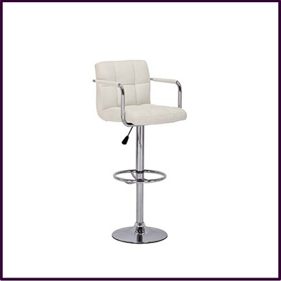Bar Chair Cream Leather Effect Height Adjust With Chrome Base
