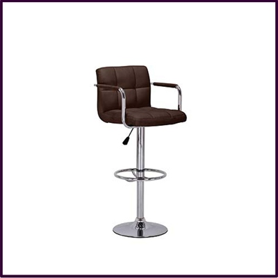Bar Chair Brown Leather Effect Height Adjust With Chrome Base