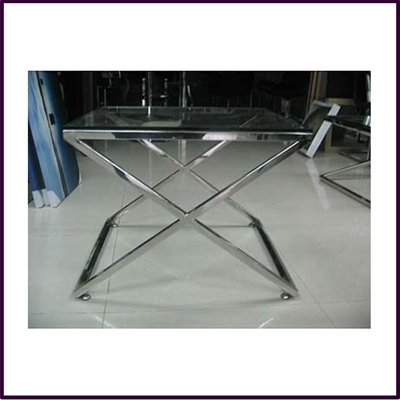 Criss Cross End Table Clear Temp Glass Stainless Steel Frame