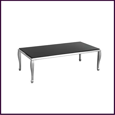 Coffee Table Black Temp Glass Nickel Plated Legs