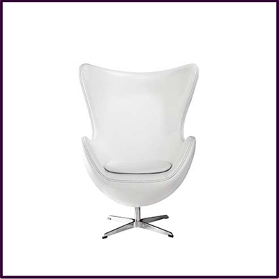 White Leather Effect Jubilee Chair With Chrome Base