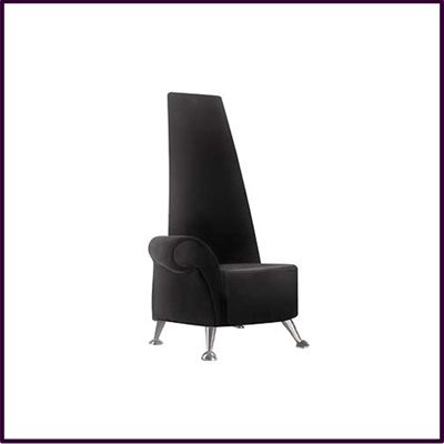 Mini Black High Back Velvet Chair with Chrome Legs