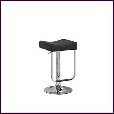 Black Pvc Stool High Adjust With Chrome Base