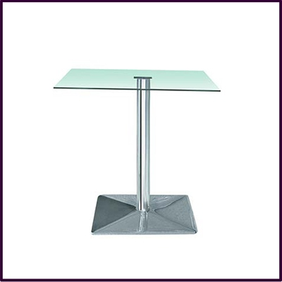 Occassional Square Clear Temp Glass Table With Chrome Base