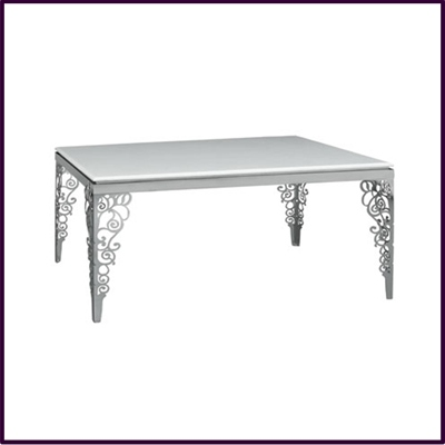 Dining Table White Marble Flower Design Ornate Stainless Steel Legs