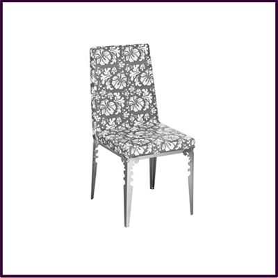Dining Chair Grey White Flower Design Leather Effect