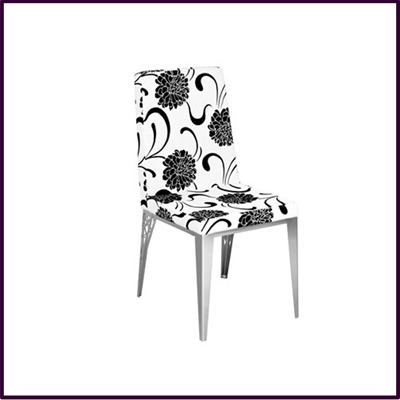 Dining Chair White Black Flower Design Leather Effect