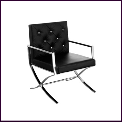 Black Leather Effect Chair with Stainless Steel Legs