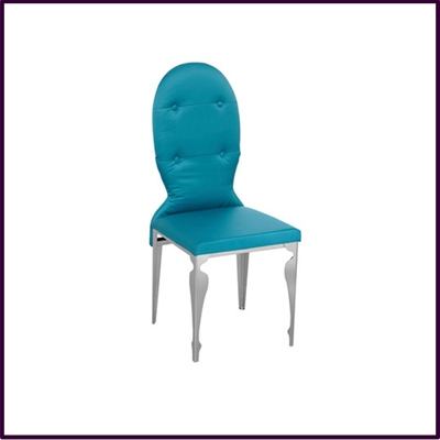Dining Chair Blue Teal Silk with Stainless Steel Legs