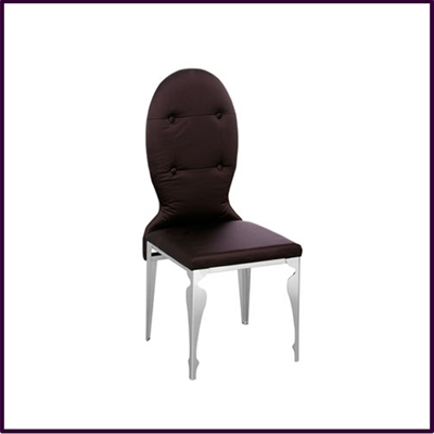 Dining Chair Purple Silk with Stainless Steel Legs