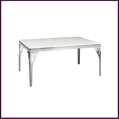 Dining Table White Marble Flower Design Abstract Stainless Steel Legs