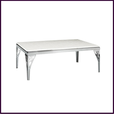 Coffee Table White Marble Flower Design with Stainless Steel Legs