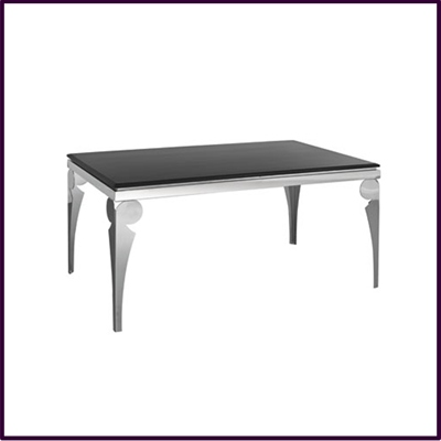 Dining Table Black Marble with Stainless Steel Legs