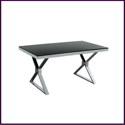Dining Table Black Temp Glass with Stainless Steel Legs